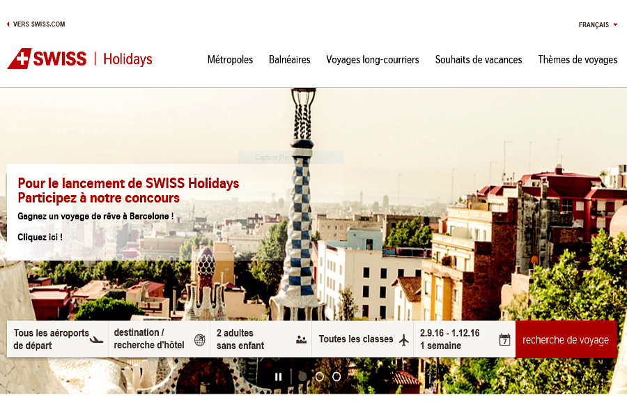 SWISS lance le portail «SWISS Holidays» !